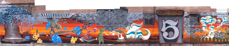 installation view,  Beautiful Losers Outbreak Project  Cincinnati, Ohio, 2004 with artists Doze Green, David Ellis Kenji Hirata and Mike Houston