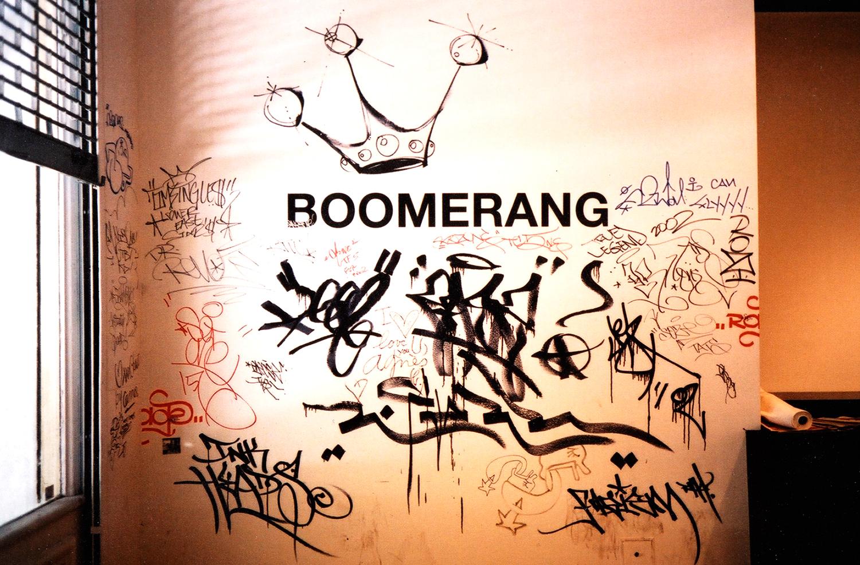 Installation view,  Boomerang   Agnés b. Gallery  New York, 2002  with artists Lee Quiñones  and José Parlá