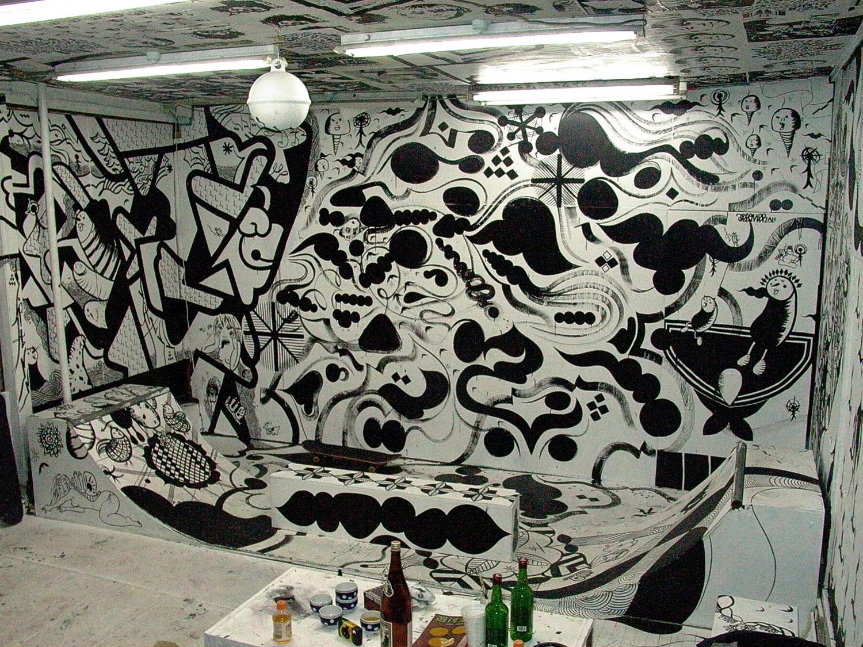 Installation view,  Inconxistence  Dyezue Gallery Nakameguro, Japan, 2003  with artists Kami, Sasu, Daikon, Z¥$, South and Jun Marie Baudet