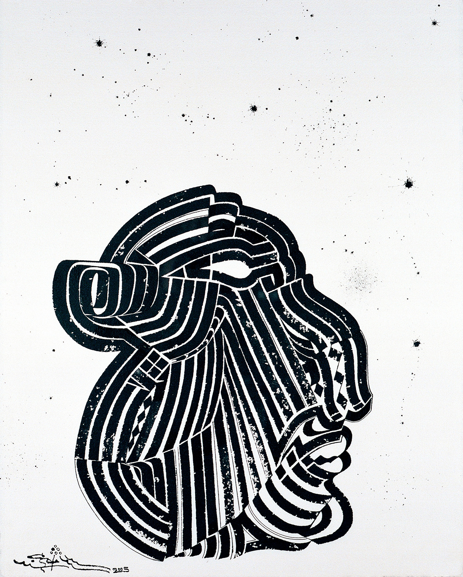 Headmaster II, 2005 sumi ink on handmade paper 30 x 22 inch