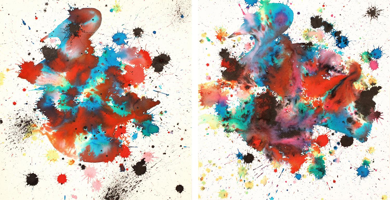 Gold Rush I & II, 2012 ink on handmade paper each 12 x 12 inch