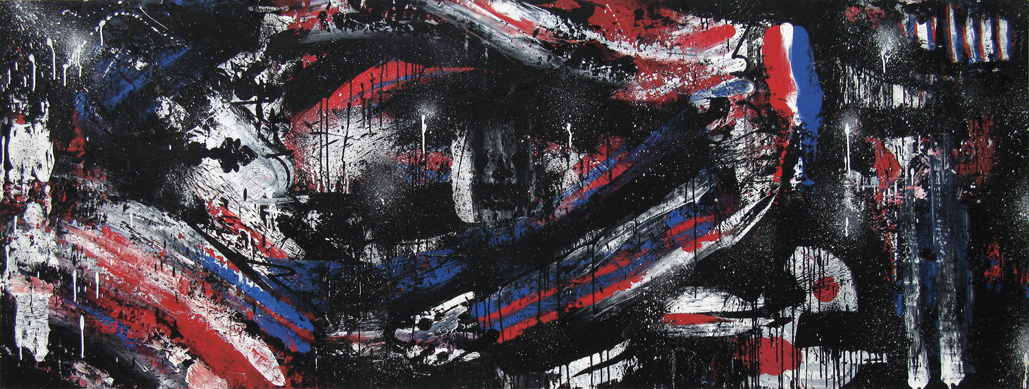 The Final Agreement (D.O.A. Series), 2003 acrylic, ink and aerosol on wood 36 x 96 inch