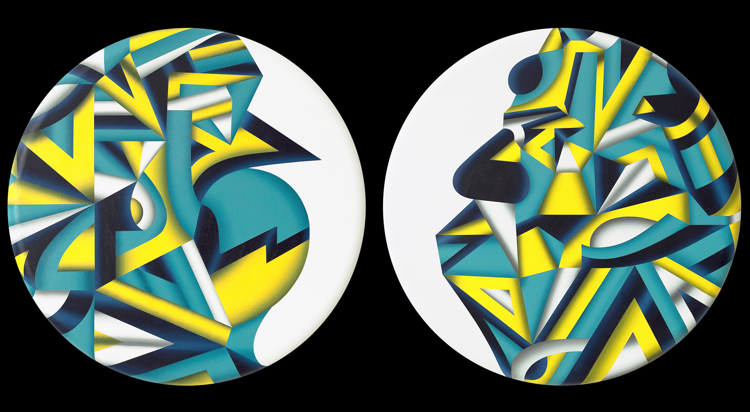 Maledictus & Benedictus (Two Ways To Play The Game), 2010 acrylic on canvas both 30 inch diameter