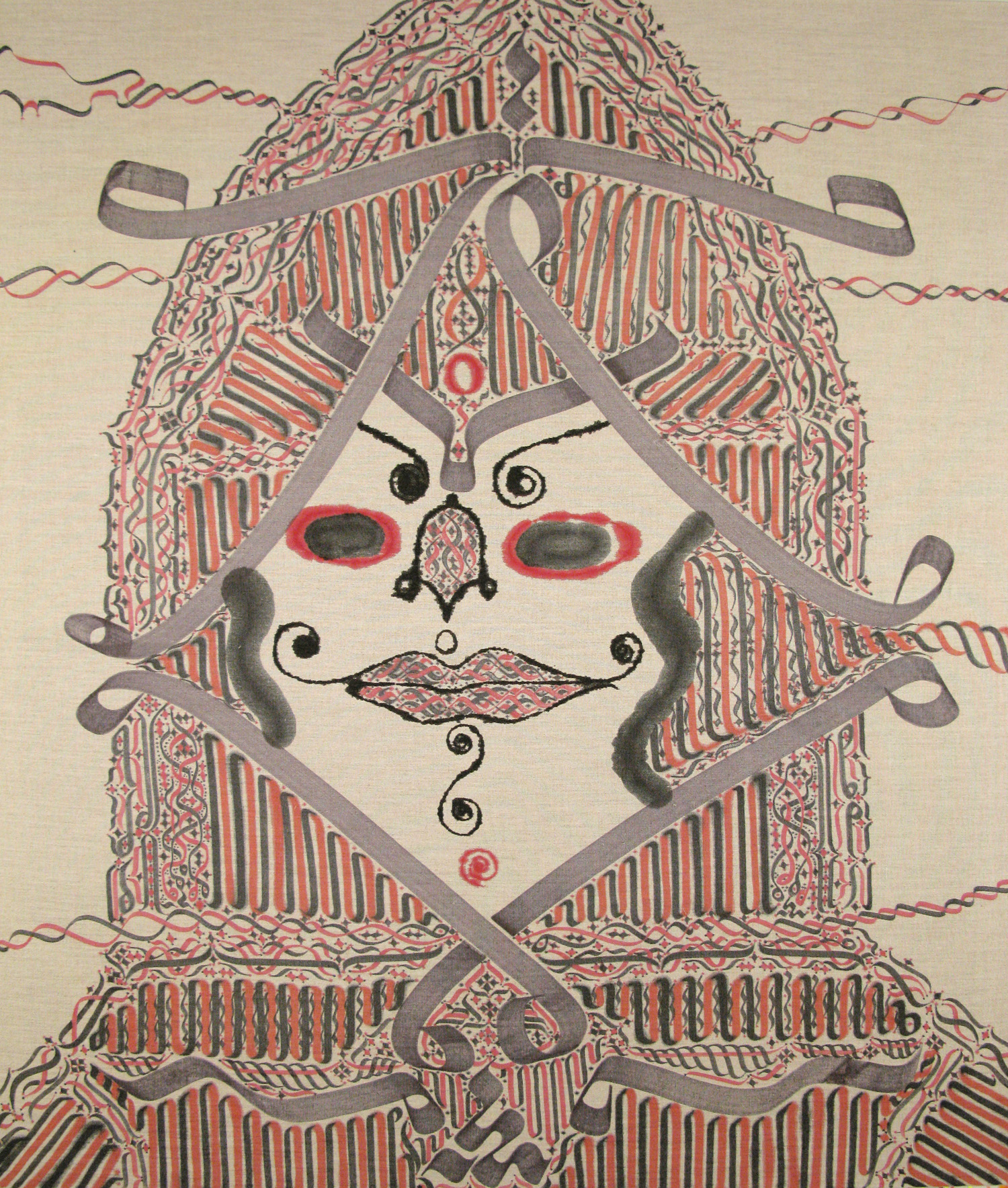 Wise Owl In Full Bloom II, 2008 ink in linen 49 x 42 inch