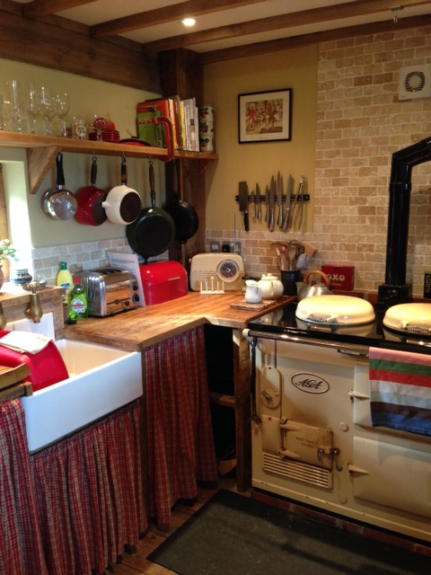 The kitchen. Sigh. It's totally country, totally vintage and totally great to cook in. I have got to grips with the Aga but there's also a 'normal' oven and hob too plus fridge-freezer, dishwasher and washing machine.