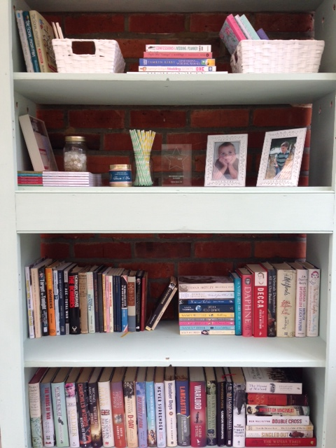 These shelves got a lick of chalky emulsion and suddenly were the perfect home for books, stationery and a few pretty bits...