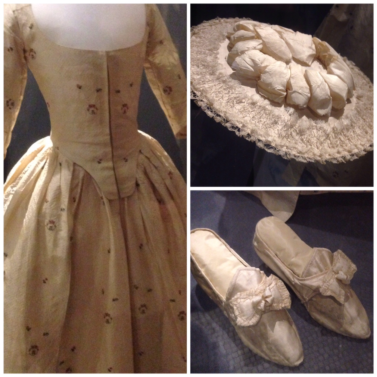 This outfit was worn by a farmer's daughter at her wedding in 1775. What strikes me is the low-cut neckline of the gown! The shepherdess style silk covered hat was also very 'of the period' and the little silk shoes have survived amazingly well.