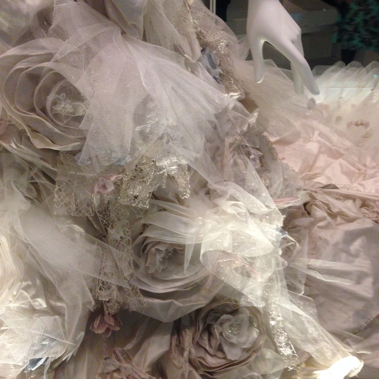 This is some of the detail on the skirt from Ian Stuart's 'Flower Bomb' gown and it was certainly spectacular. It would take a bold bride to wear this I think but if you've got a big personality, why try to pretend that you're demure and quiet on your wedding day?