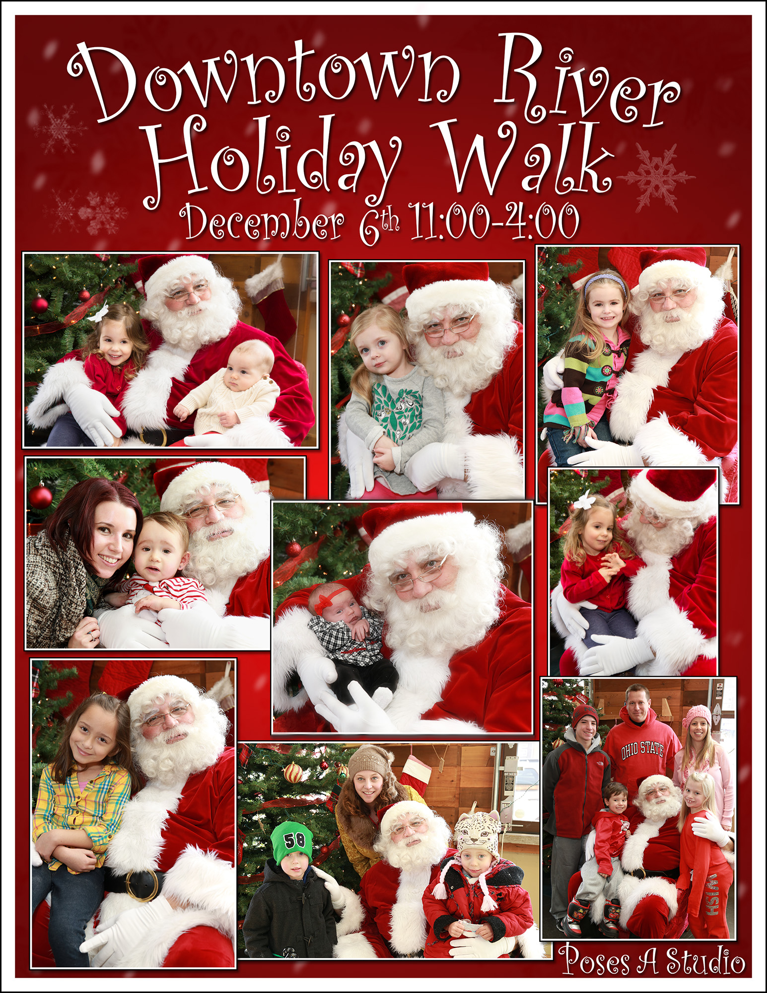 Get your photo with Santa at the 6th Annual Downtown River Holiday Walk