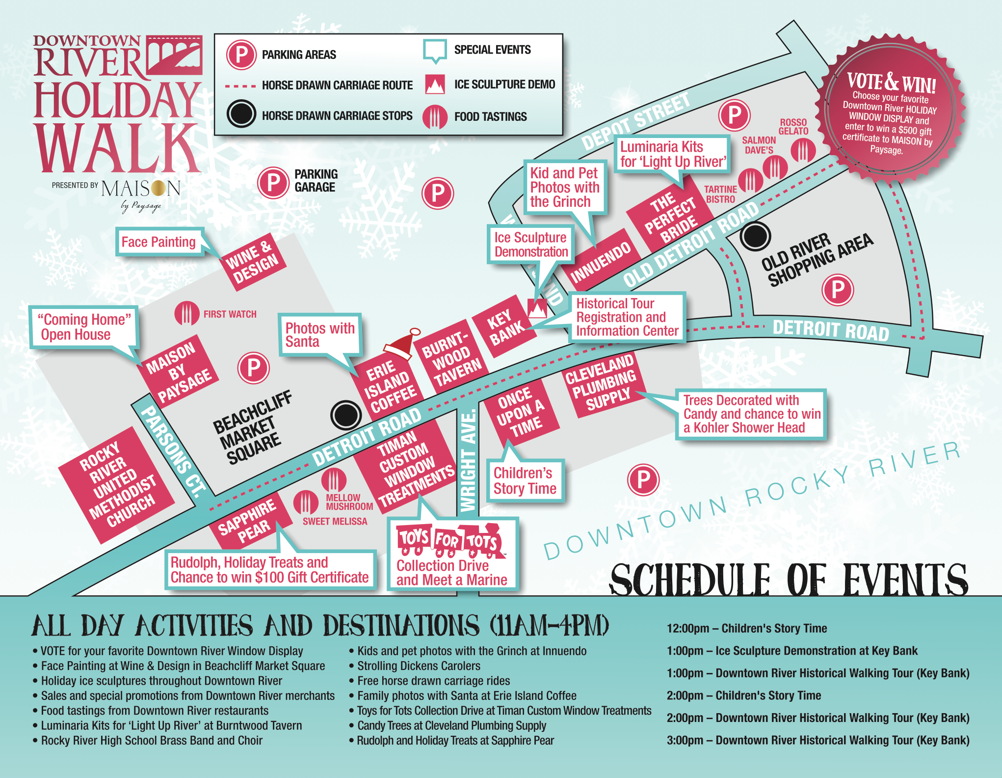 Click to enlarge the map and view events and attractions at the 2015 Holiday Walk!