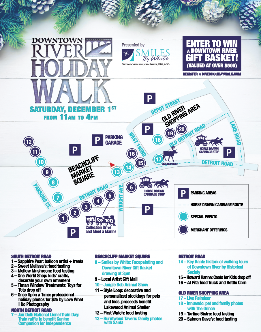 Click for full-size map of the Downtown River Holiday Walk