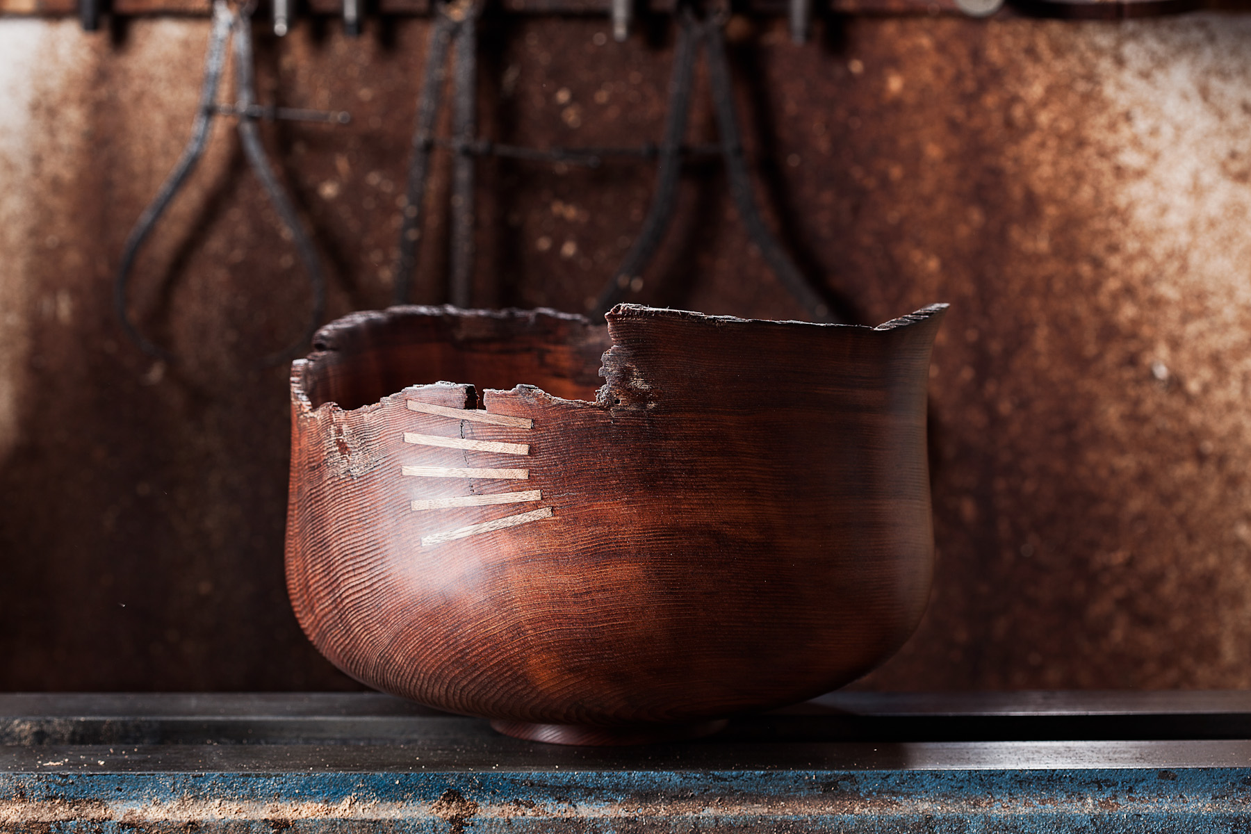Jerry Kermode spins wood bowls out of Sebastopol