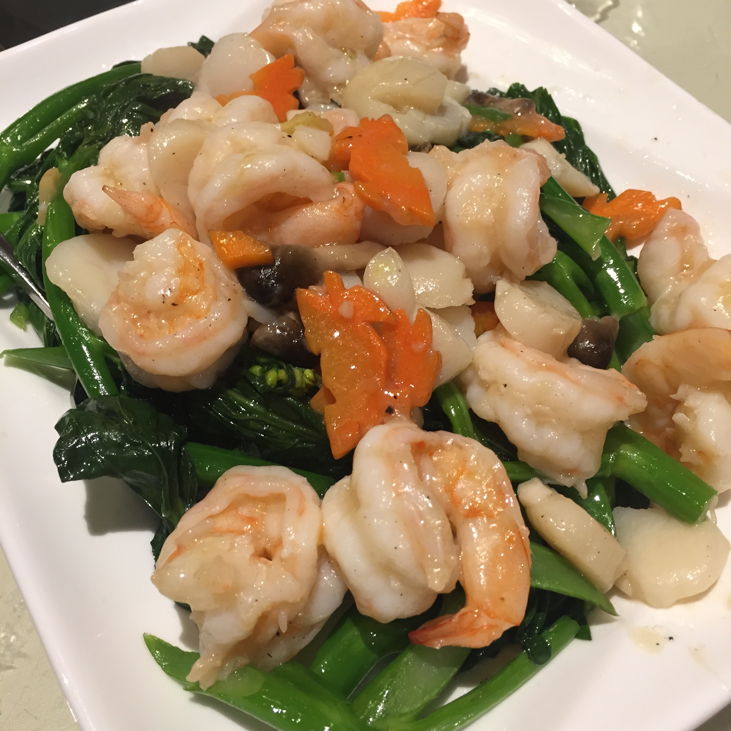 Shrimp and Scallops with Chinese Greens