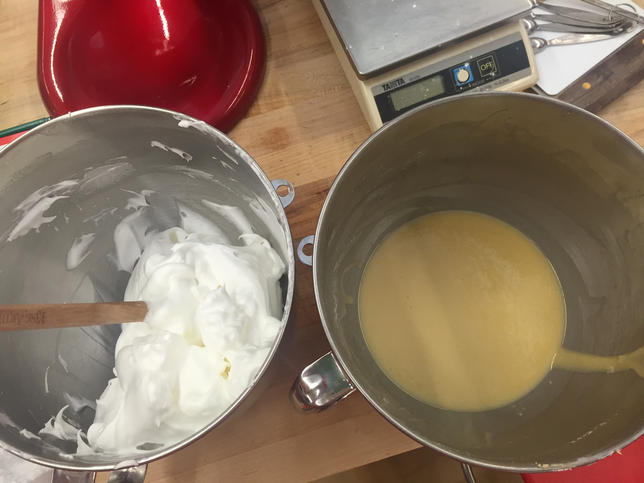 Chiffon cake in-the-making: egg white meringue on the left to be folded into oil/egg/flour batter on the right
