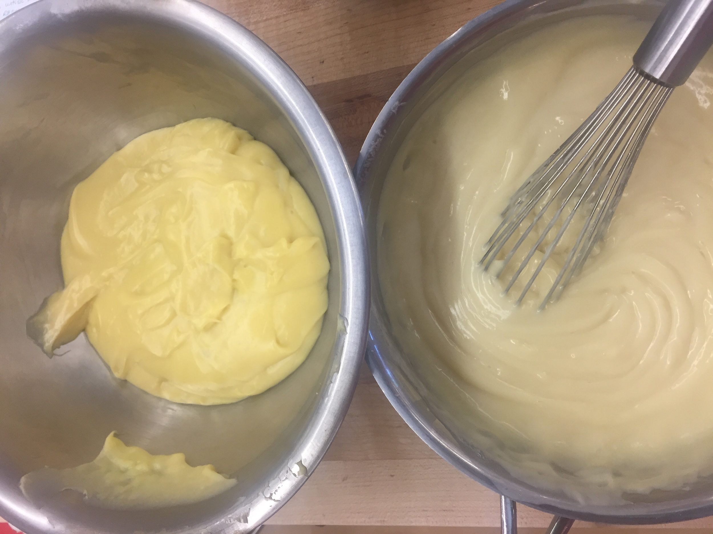 The BAD pastry cream on the left...the CORRECT pastry cream on the right