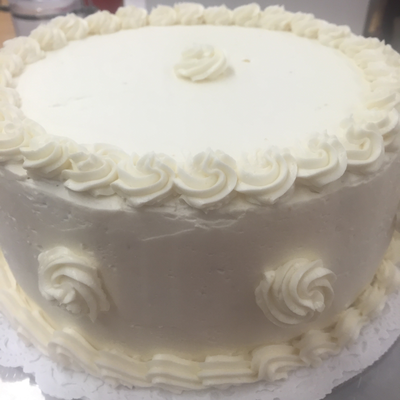 The final three-layer vanilla chiffon cake with lemon curd filling!