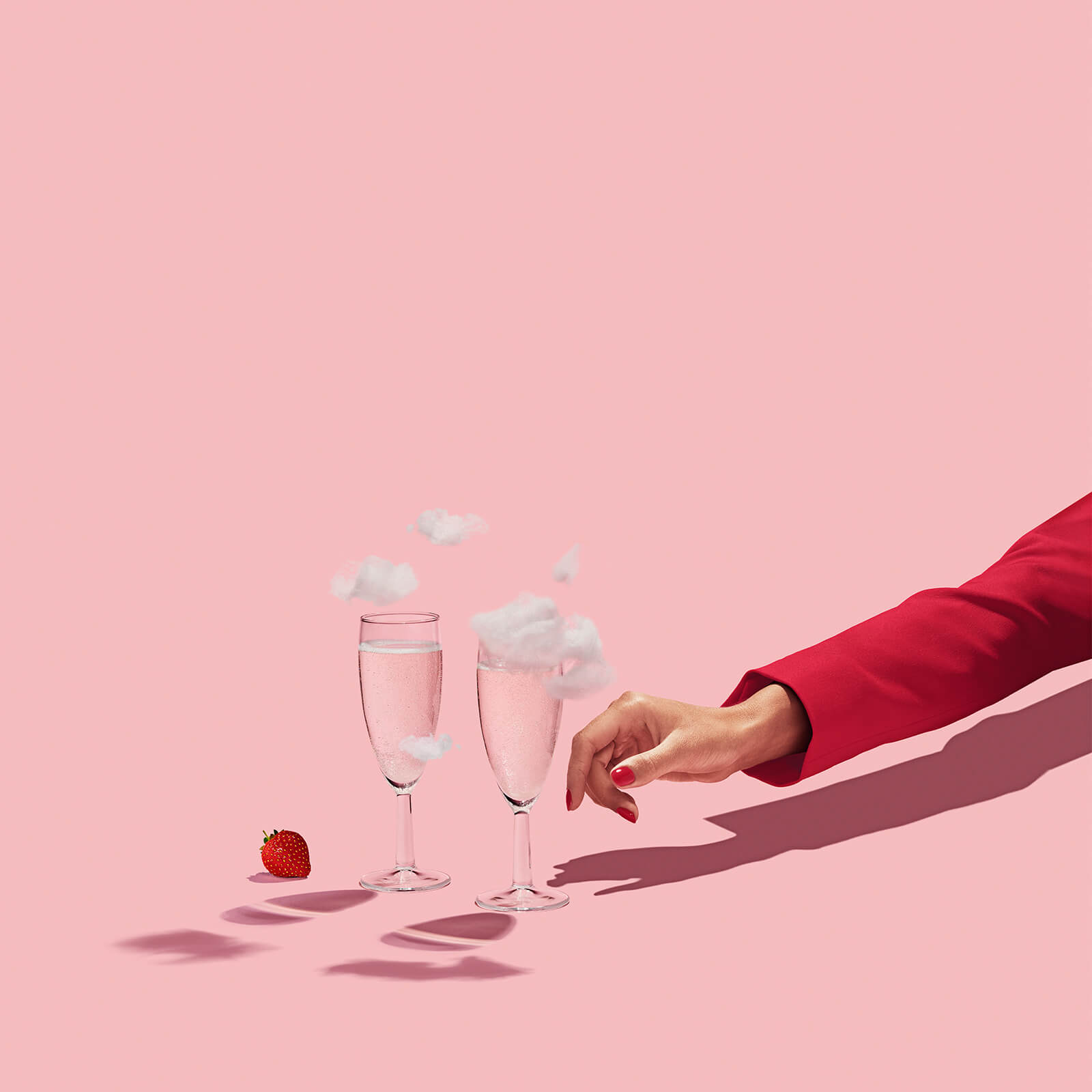 client: virgin atlantic  credits: photo- jenna gang, food styling- ali nardi  description: conceptual still life photograph of modeling reaching for cloud champagne.