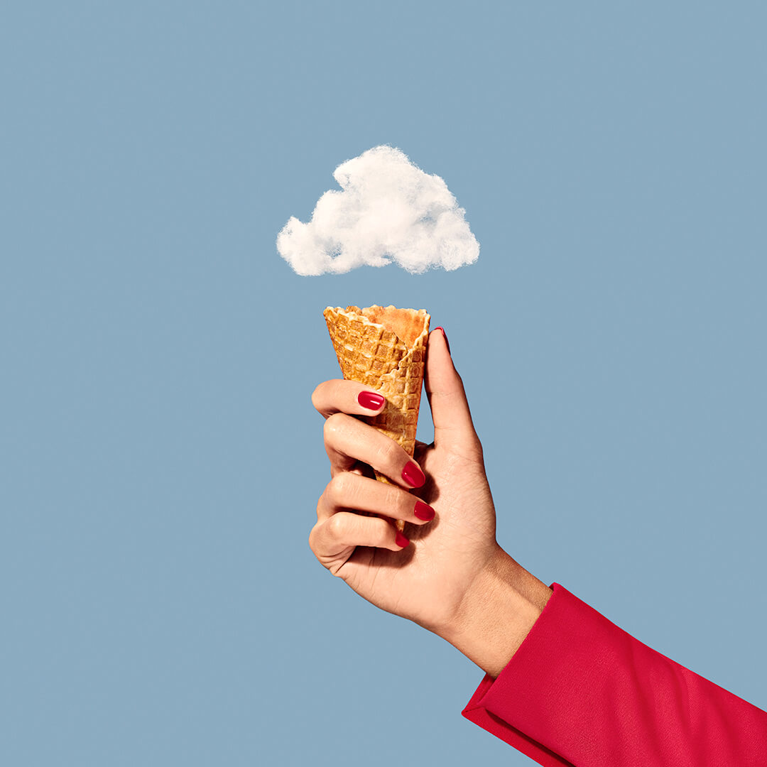client: virgin atlantic  credits: photo- jenna gang, food styling- ali nardi  description: conceptual still life photograph of modeling holding cloud ice cream.