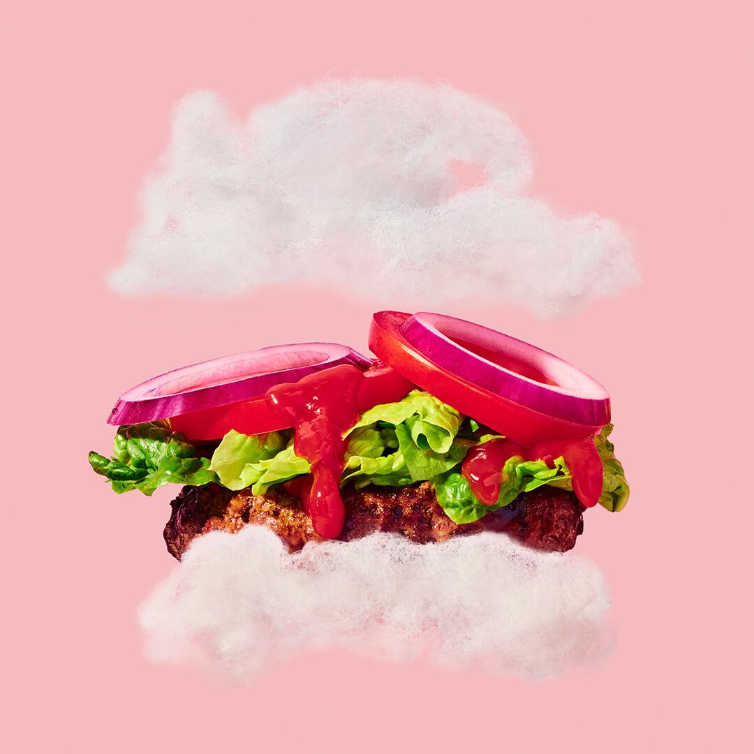 client: virgin atlantic  credits: photo- jenna gang, food styling- ali nardi  description: conceptual still life photograph of cloud burger
