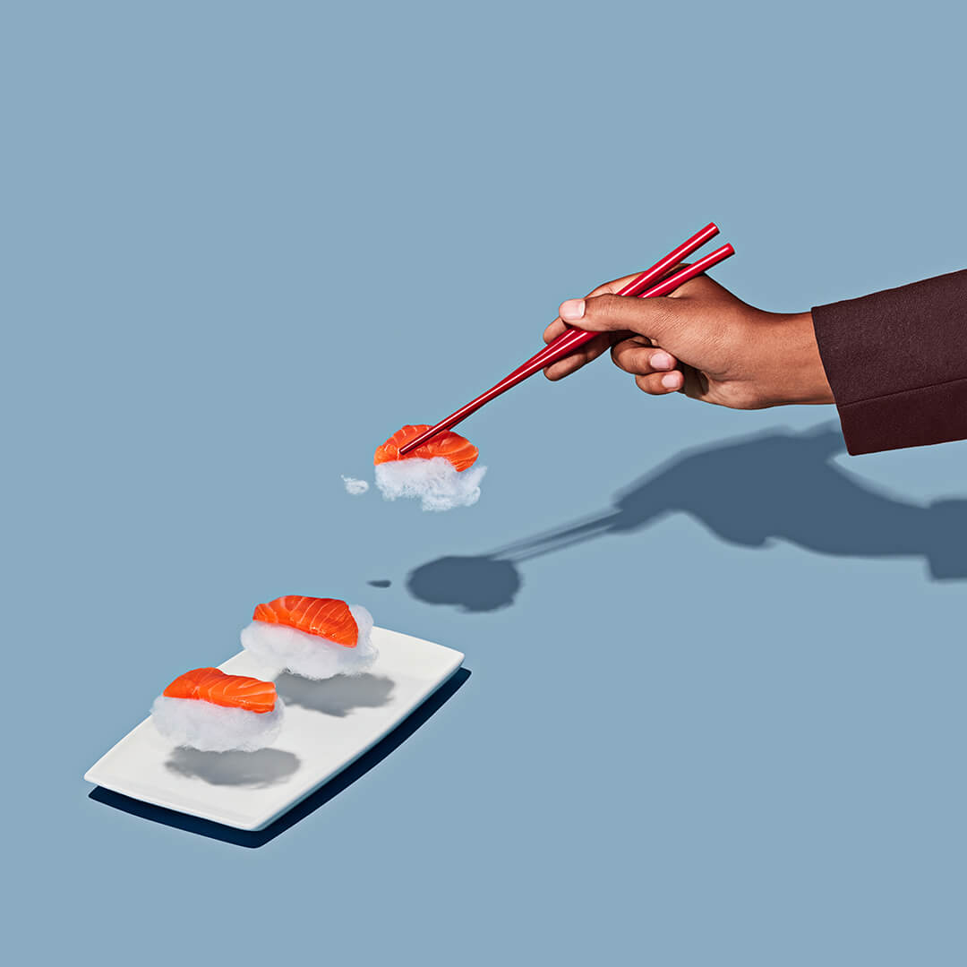 client: virgin atlantic  credits: photo- jenna gang, food styling- ali nardi  description: conceptual still life photograph of modeling eating cloud sushi.