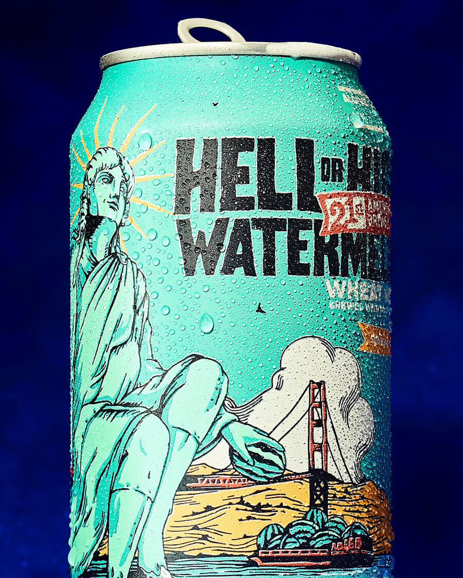 credits: photo- jenna gang, styling- lucy ruth  description: Conceptual still life photograph of 21st Amendment's Hell or High Water watermelon beer.