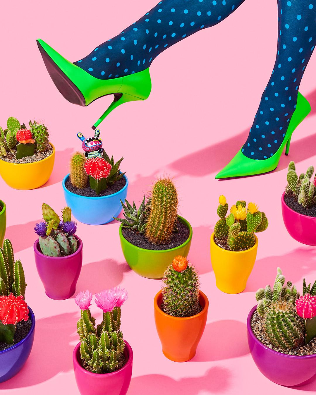 credits: photo - jenna gang, styling - chelsea volpe, nails - natsume chiharu, model - pauline sherrow  description: model wearing balenciaga heels stepping into a pile of rainbow cactus'.