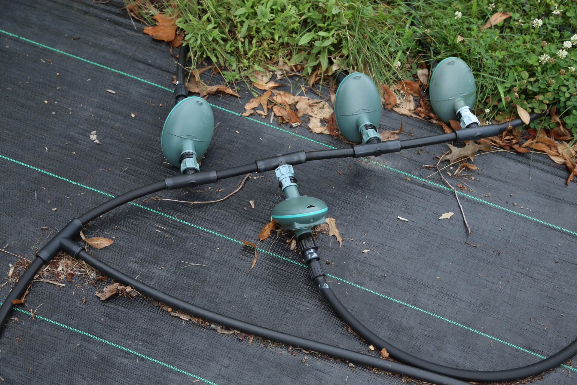 Our irrigation valve manifold at the entrance to the orchard