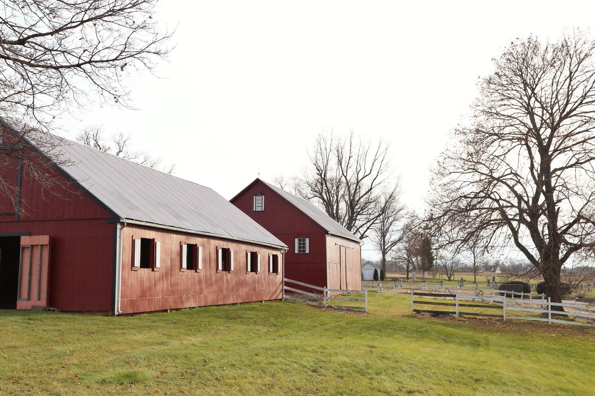 A view of the barns.