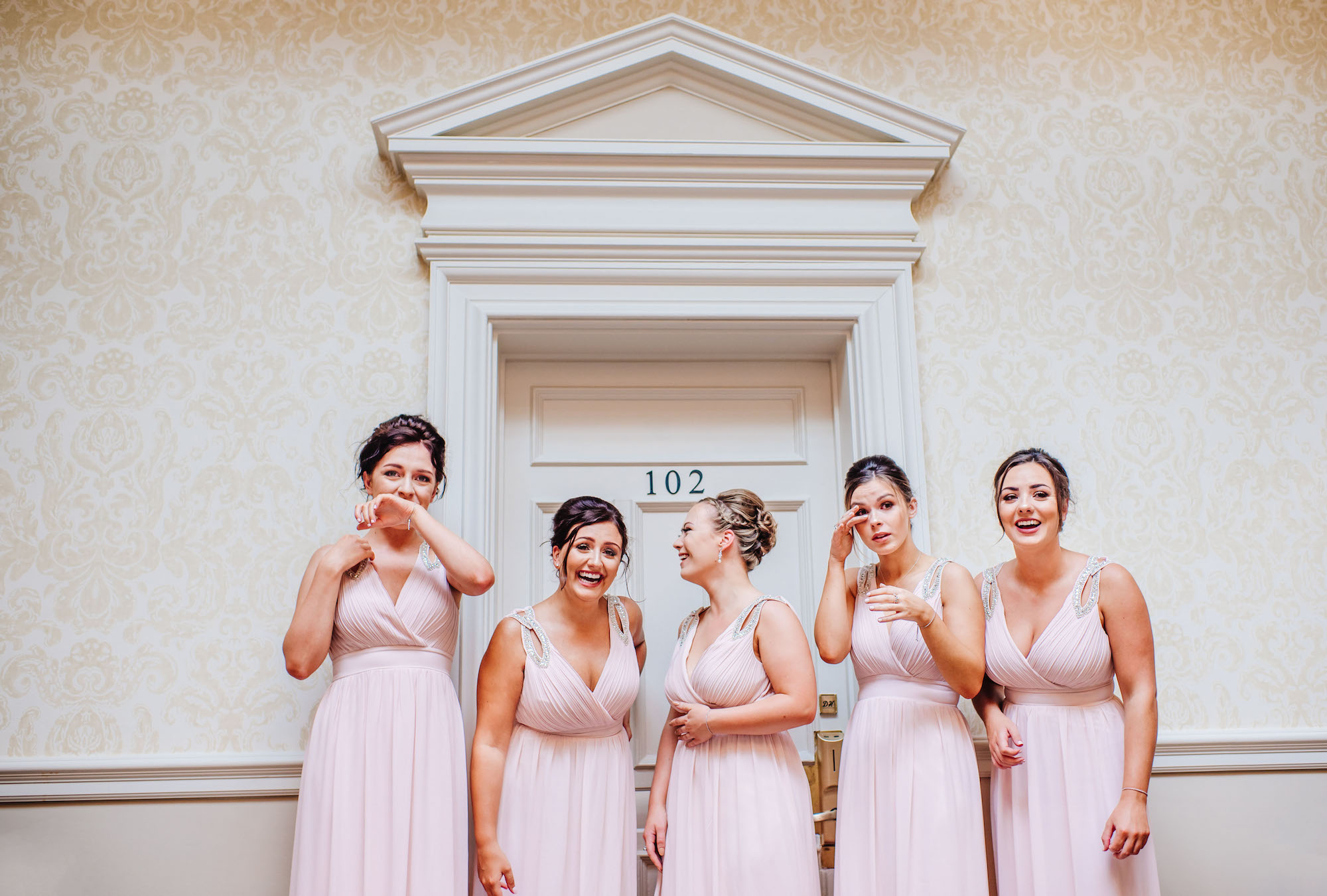 11 Down Hall Country House Hotel Bridesmaids First Look Wedding Photography.jpg