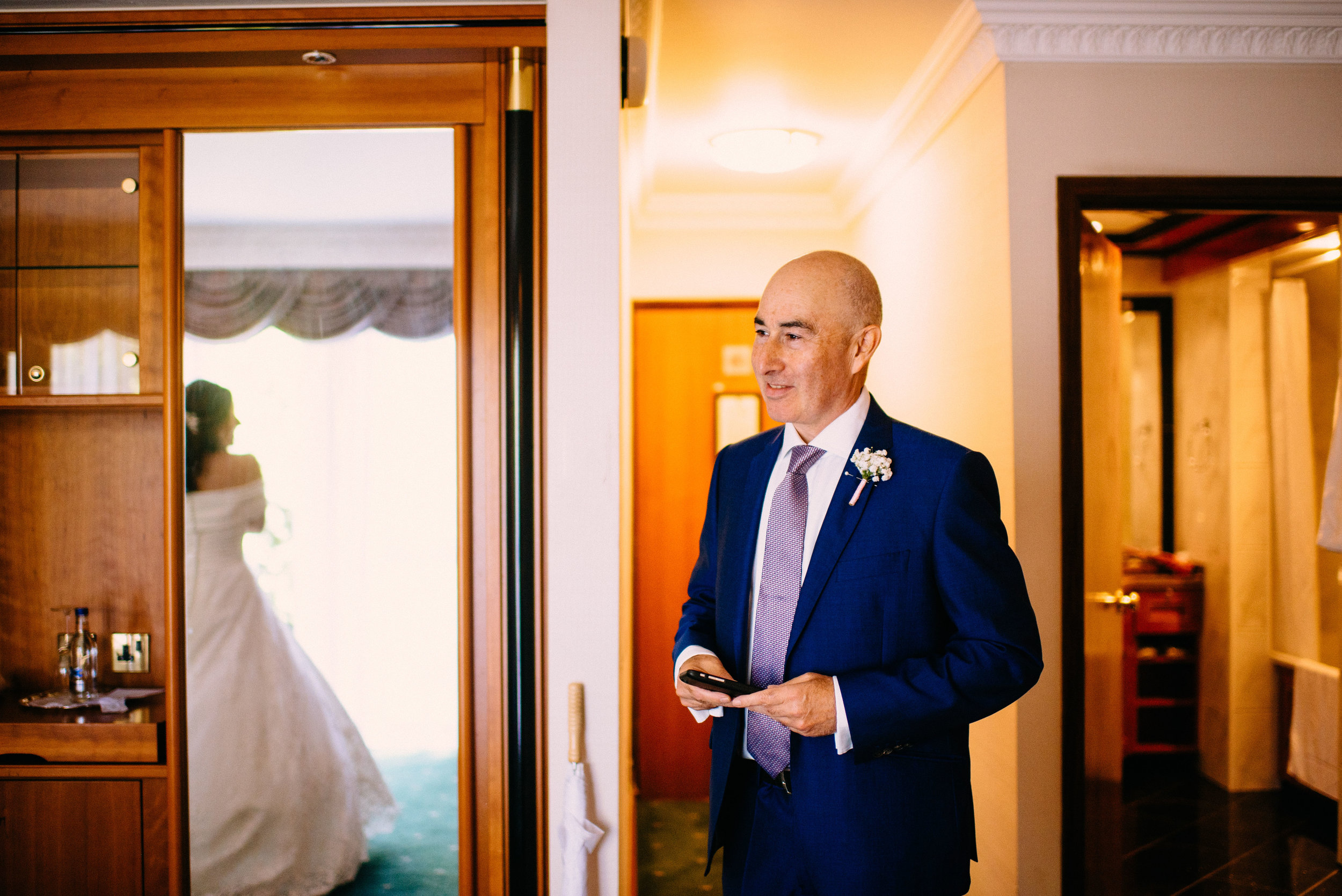 13 Lillibrooke Manor Berkshire Wedding Photography Father First Look at Daughter.jpg