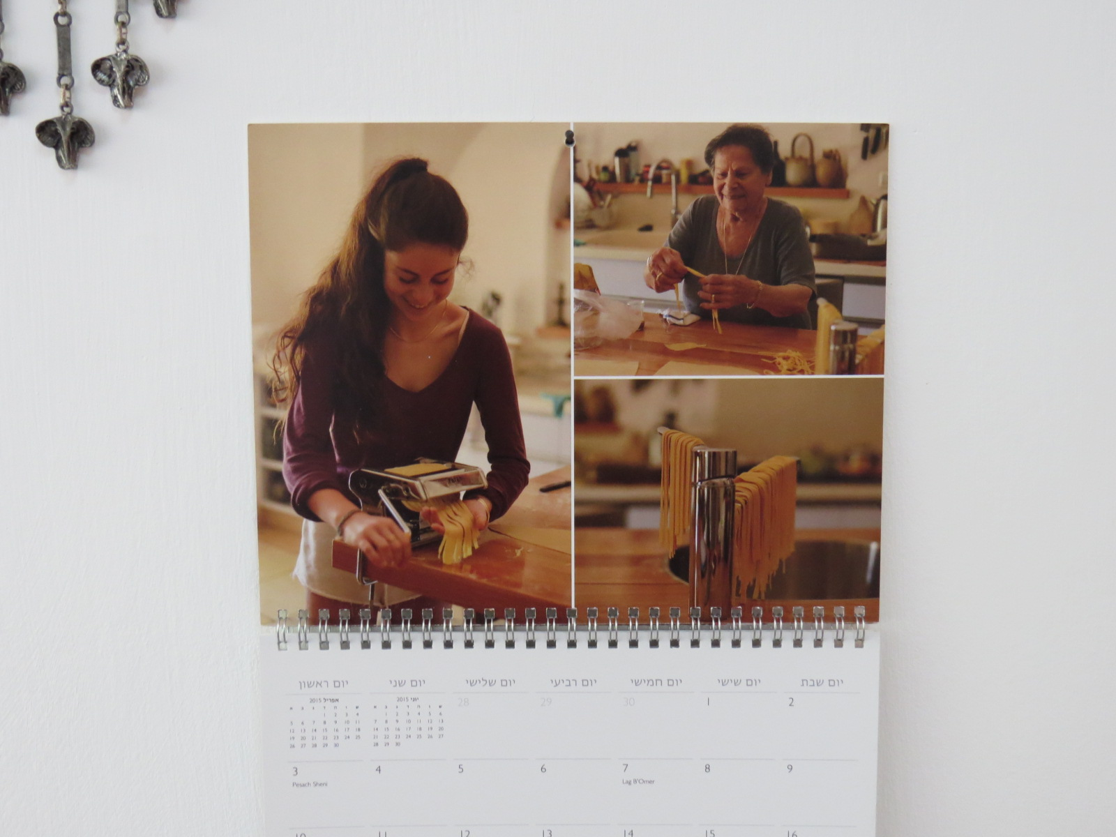 Rina and her grand-daughter Enelle Mevorah making pasta together. The calendar was this year's birthday gift to Rina.