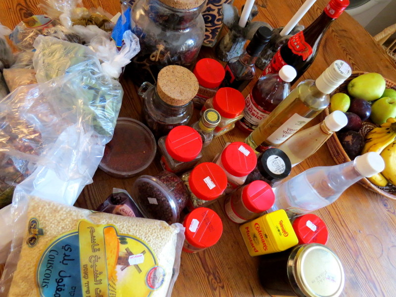 The first part of Toni's herbs, spices, essences andgrains on my kitchen table. I still haven't unpacked them all!