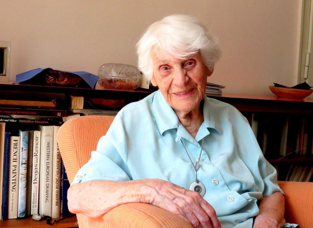 Inge Rapoport,in the 'examination chair' in her Berlin sitting room.