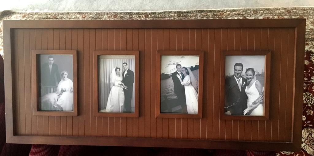 Wedding photos of Viviane's parents, Viviane and Maurice and both her sons in one frame.