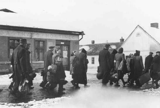 Czech Jews are deported from Bauschovitz to Theresienstadt ghetto. Czechoslovakia, between 1941 and 1943.jpg