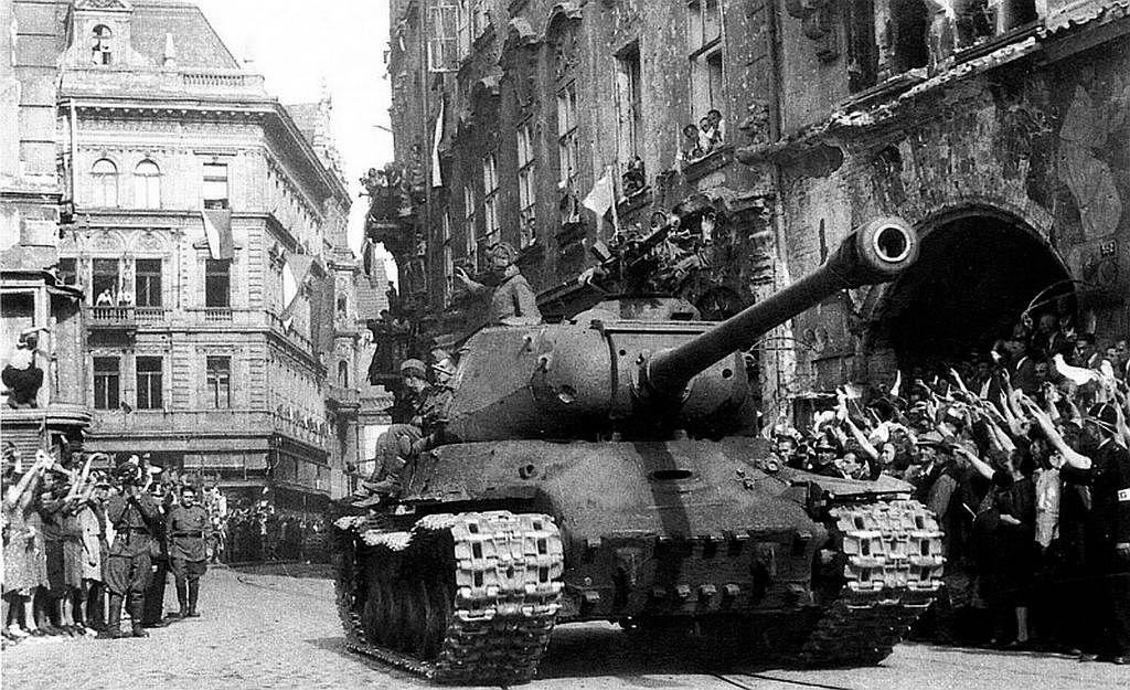 Soviet tank, with a Czech crew, reaches Prague in 1945. Annetta and Stephanie returned then too.