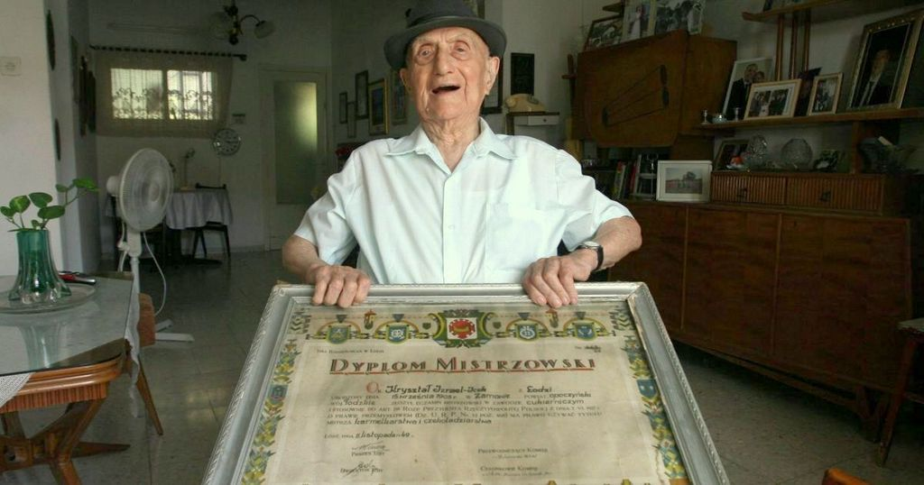 Kristal with his confectioner's diploma. He credits this skill with saving his life during World War Two   (Photo: Haaretz)