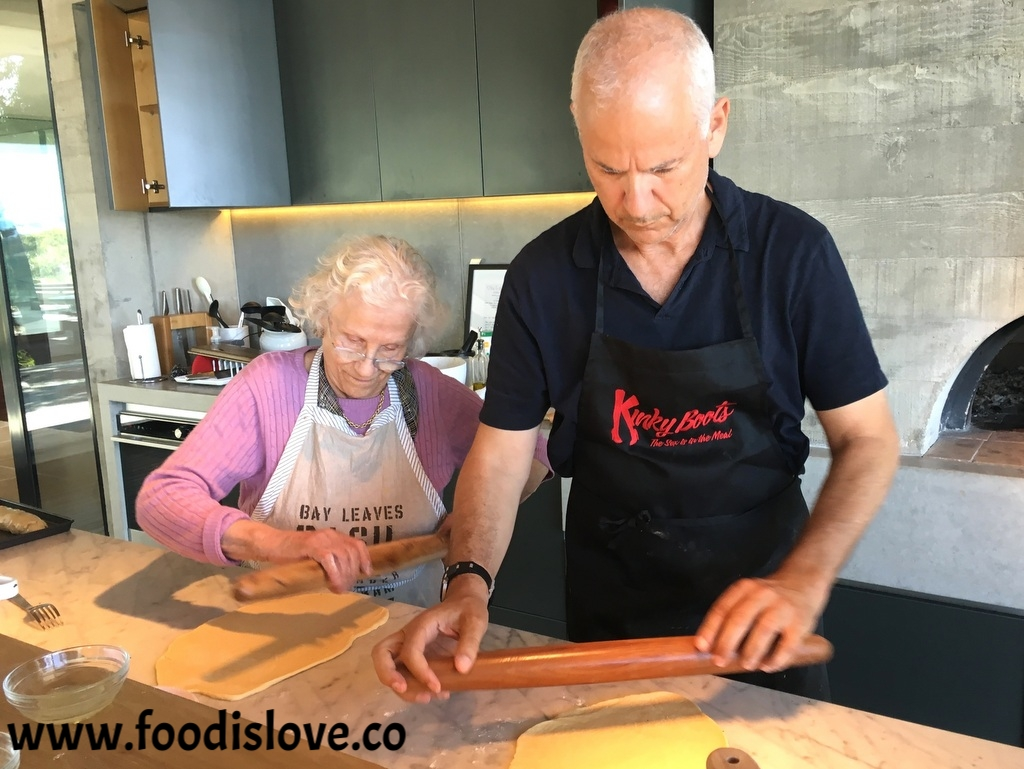 Baba baking yeast rolls with her son Alan Schwartz.When he's not cooking his mother's specialties, he's branched out, baking artisanal breads using different flours and grains  .