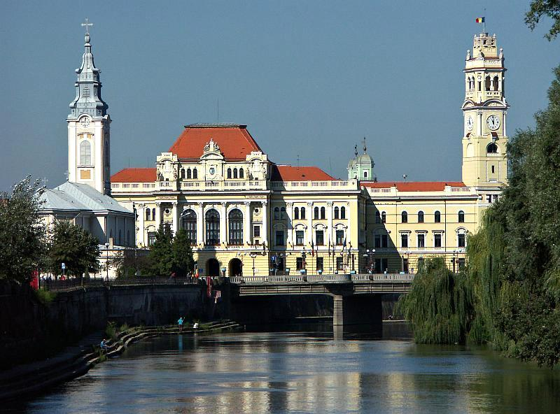 Oradea City Hall. Before World War Two, almost one third of Oradea's popuation was Jewish, and Jews were proportionately represented here in the municipality.  (Paul Cosmin, commons)