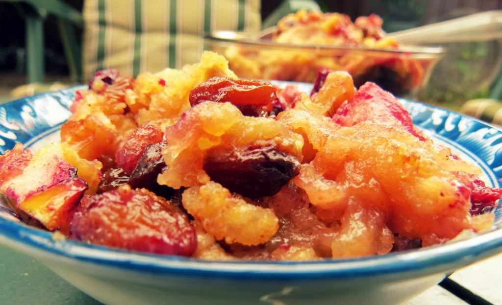Nina's Apple and Berry Bake with semolina. lemon and spices.