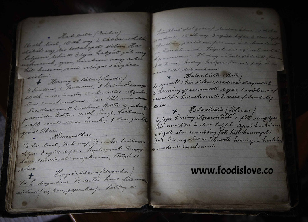 Granny's cookbook. The recipes are in German and Slovakian. Eva has translated them.