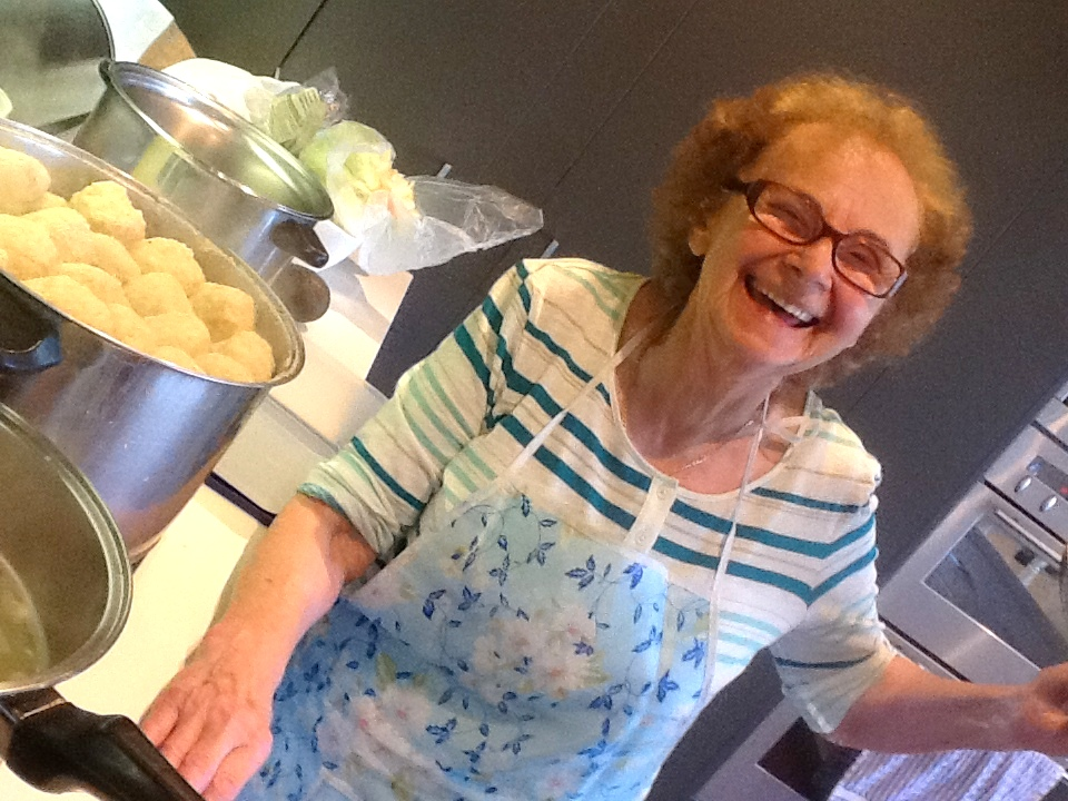 Hania's matzo ball pot, almost as tall as she is!
