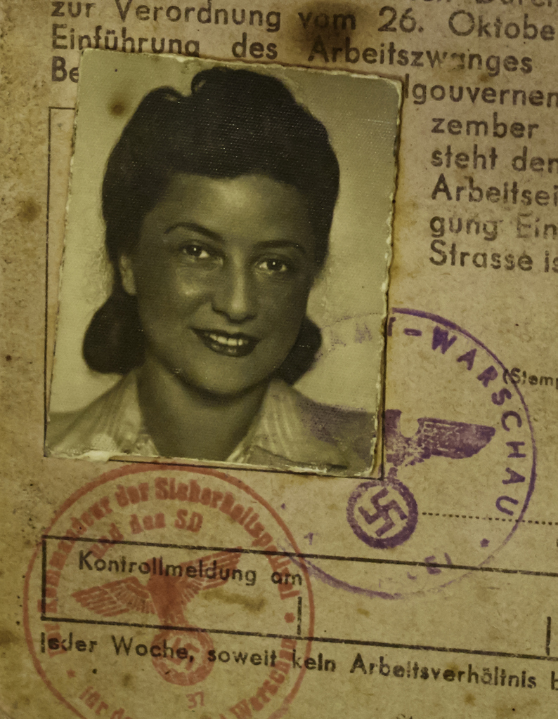 Lena's 'Kennekarte' her Nazi ID document. She took it with her when she escaped the Ghetto in April 1943, although carrying proof of her Jewish identity would have meant death had she been stopped.