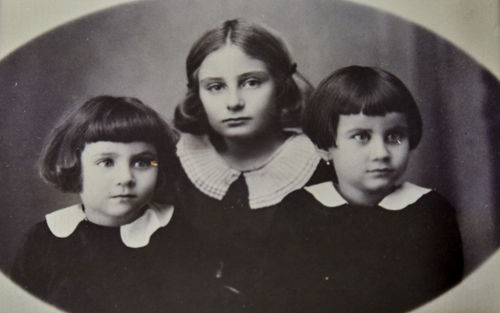 Baba and her sisters Erna and Marta as young girls in Hungary in the 1930s. That life was ended for Jews by the Holocaust. Ninety per cent of the Jews of their town of Nyirbartor were murdered during World War Two.