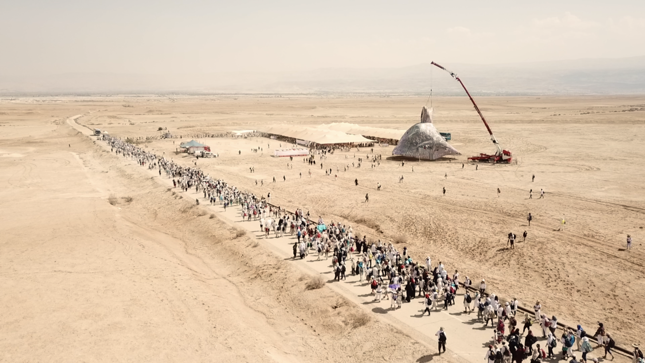 10,000 Palestinian and Israeli women marching for peace at the Dead Sea, October 2017. Drone photo:Aviad Bar