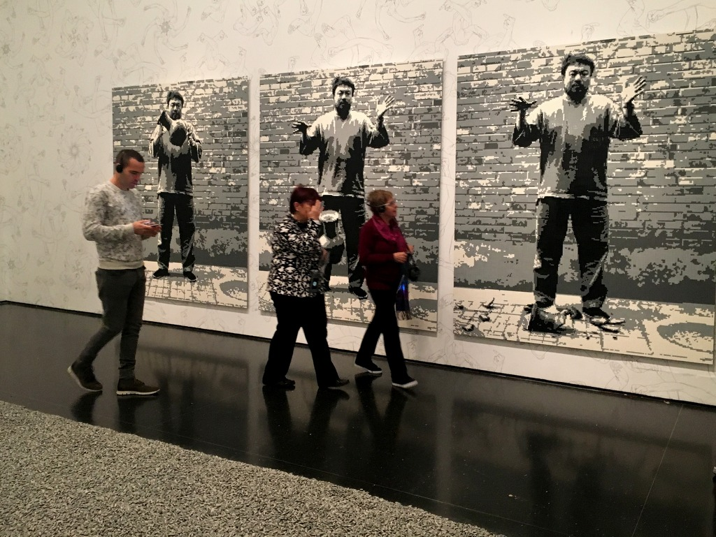 Ai Wei Wei at the Israel Museum. The portrait is made of lego.