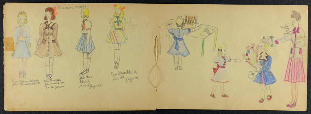 Some of her sister Vera's drawings, which Eva discovered in a box in the cellar of her former home when she returned after WW2. Vera would have been 12 years old when she drew these.