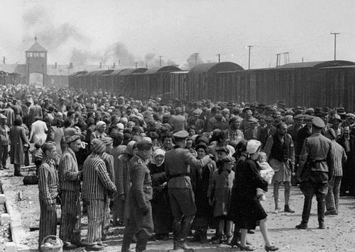 Selection ramp Auschwitz May 1944, a few months before Eva was transported here with her sisiter Vera. Photo believed to be taken by 2 Nazi officers working at the death camp. They left more than 150 photos behind in an album, which was picked up by a Survivor at the end of the War. 18 yo Lily Jacob saw photos o f her relatives there and kept it. She donated the album to Israeli Holocaust Memorial Yad Vashem in 1980.