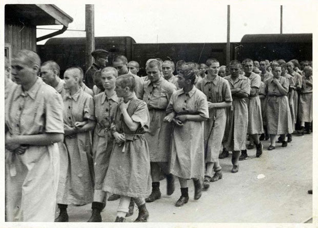 This photo shows young Jewish women selected for slave labour at Auschwitz in May 1944. It s also from the photo album which Lily Jacob found at the death camp the end of the War.