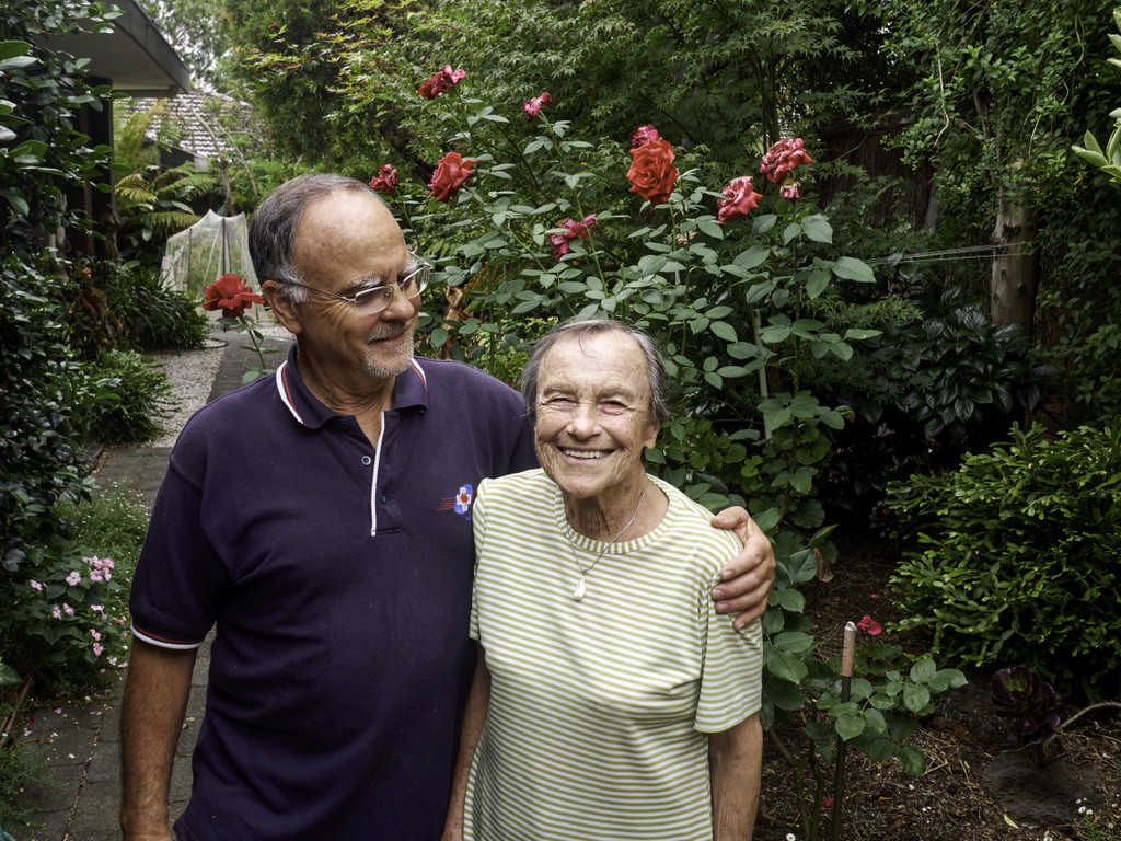 Sarah Saaroni with her son Dr Gideon Saaroni in her organic garden. She is still growing her own veges.
